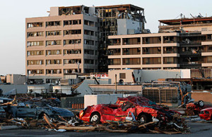 Joplin, MO, EF5 tornado damage to hospital. Time.