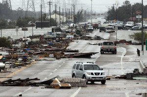 Damage from Hurricane Ike near Galveston, TX. Credit National Geographic.