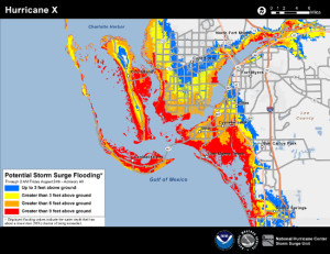 Example Potential Storm Surge Flooding Map for Ft. Myers, FL. Credit NOAA.