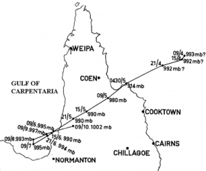Most likely track of Tropical Cyclone Mahina. Image credit: Whittingham, 1958
