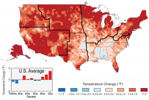 Observed changes in average temperature across the United States for the period 1999-2012 as compared to 1901-1960 averages.