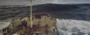 A rare rogue wave caught on camera as it passes a large ship on otherwise calm seas. Credit: NOAA.