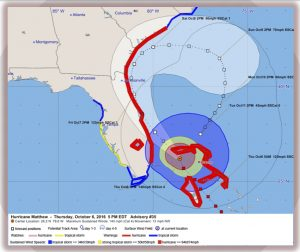 Official National Hurricane Center forecast for Hurricane Matthew as of October 6, 2016, with the storm's wind field marked. Credit: NWS Jacksonville
