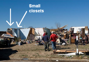 Small closets remain intact after a tornado ravaged this neighborhood. Credit: Alabama Wx Blog