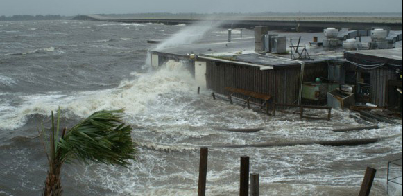 Hurricane Dennis brought strong winds and dangerous storm surge inundation to the Florida panhandle in 2005. Credit: USGS