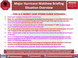A briefing from the NWS Jacksonville forecast office on the expected local impacts from Hurricane Matthew. Note that storm surge was the primary concern. Credit: NWS Jacksonville