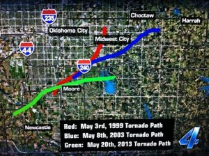Paths of Three Violent Tornadoes in OKC